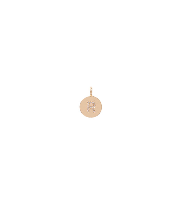 Initial Custom Charm, Gold Metallic R Charm, large
