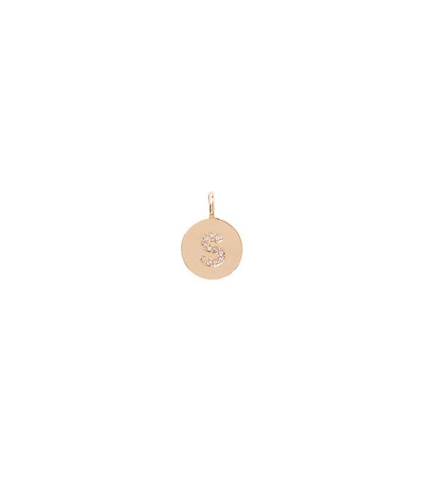 Initial Custom Charm, Gold Metallic S Charm, large