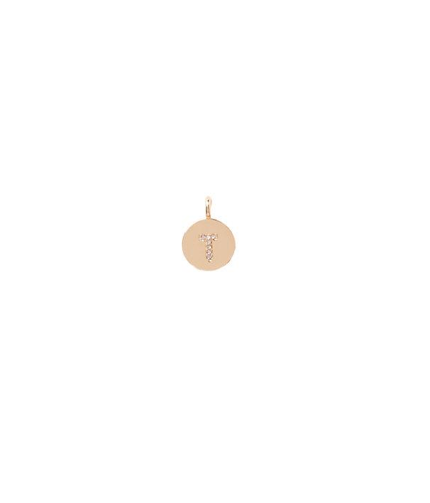 Initial Custom Charm, Gold Metallic T Charm, large