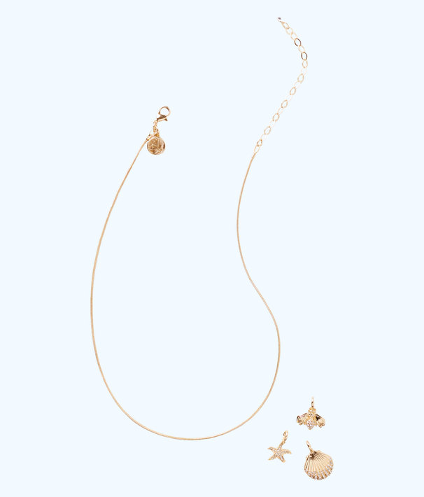 Charm Necklace Chain, Gold Metallic, large