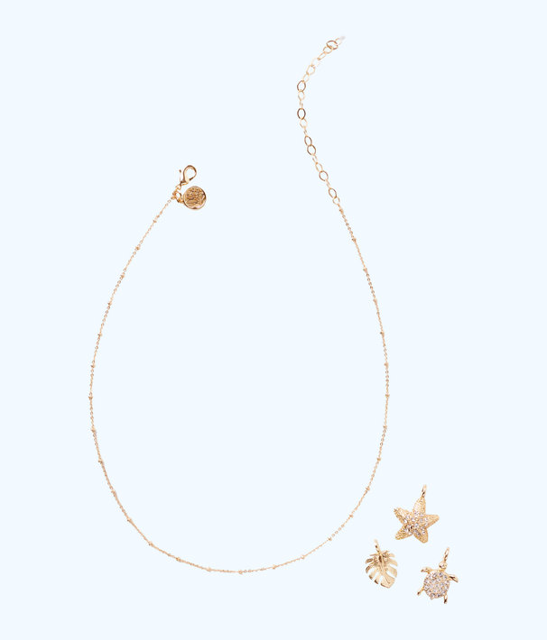 Short Charm Necklace Chain, Gold Metallic, large