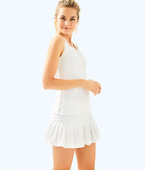 UPF 50+ Luxletic Taye Tennis Skort, Resort White Perfect Match Jacquard, large
