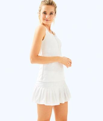 UPF 50+ Luxletic Taye Tennis Skort, Resort White Perfect Match Jacquard, large