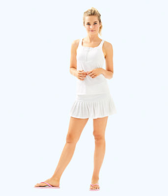 UPF 50+ Luxletic Taye Tennis Skort, Resort White Perfect Match Jacquard, large 4