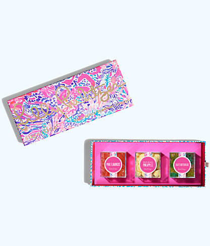 Lilly Pulitzer x Sugarfina 3 Piece Bento Box, Light Pascha Pink Aquadesiac Sugarfina Box, large
