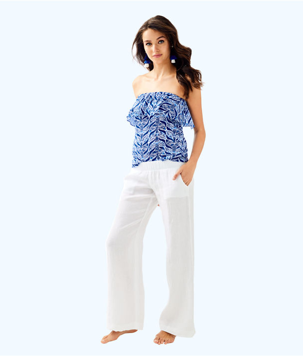 "33"" Bal Harbour Linen Palazzo Pant, Resort White, large"