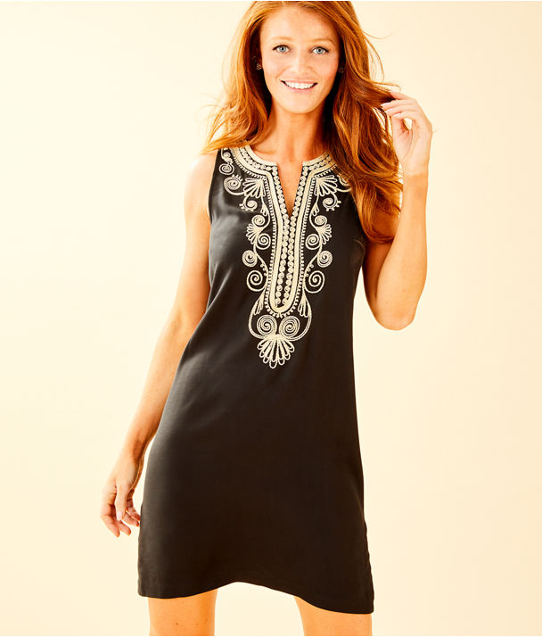 Carlotta Stretch Shift Dress, Onyx, large