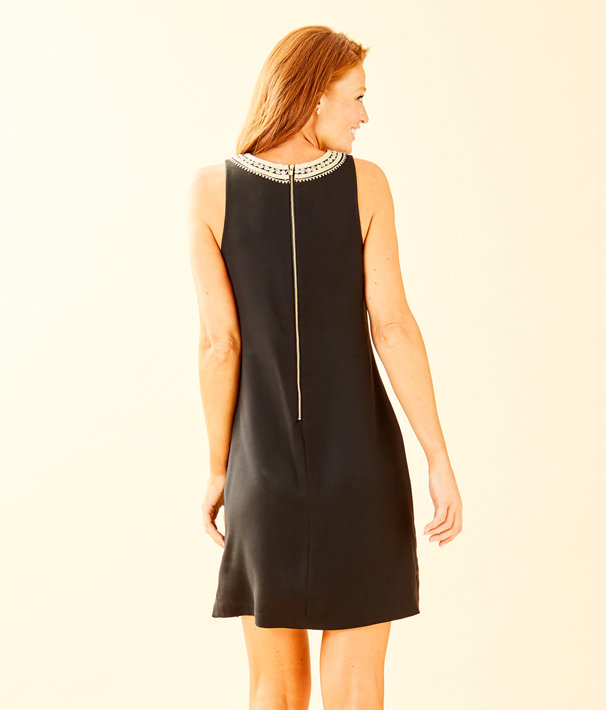 Carlotta Stretch Shift Dress, Onyx, large