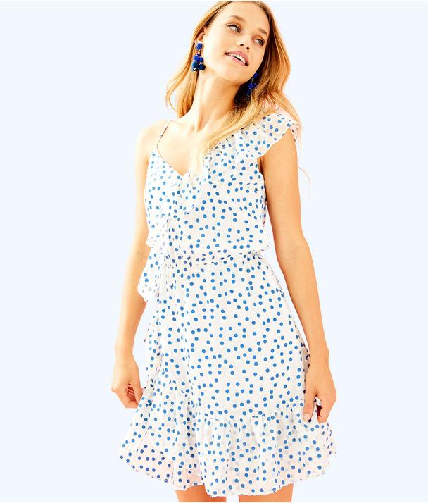 Madelina Dress, Bennet Blue Polka Dot, large
