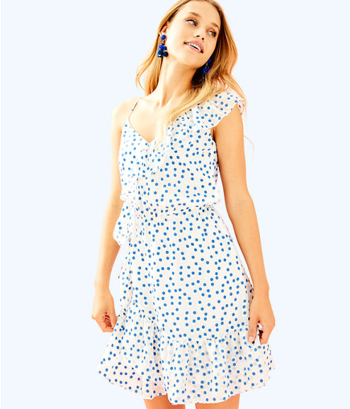Madelina Dress, Bennet Blue Polka Dot, large