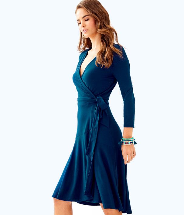 Rozaline Wrap Dress, Inky Navy, large