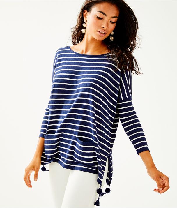 Elba Sweater, True Navy Coastal Shell Stripe, large