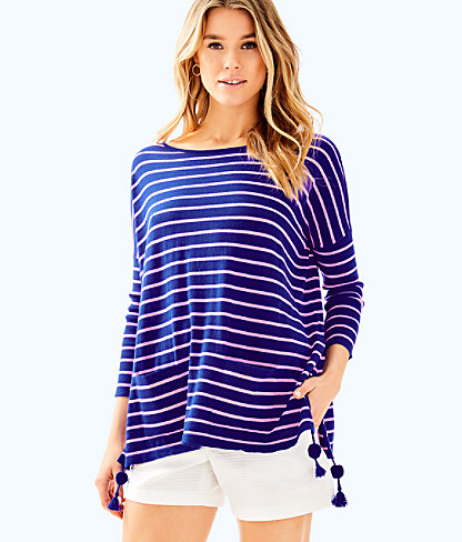 Elba Sweater, Twilight Blue Coastal Shell Stripe, large