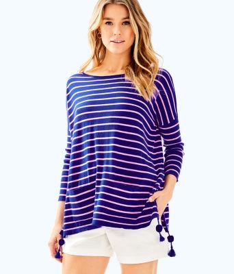 Elba Sweater, Twilight Blue Coastal Shell Stripe, large