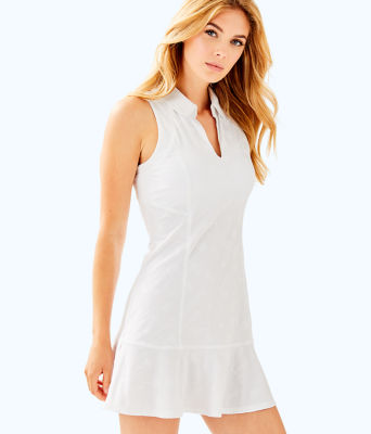 UPF 50+ Luxletic Martina Tennis Dress, Resort White Perfect Match Jacquard, large