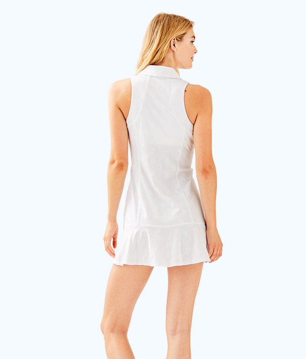 UPF 50+ Luxletic Martina Tennis Dress, Resort White Perfect Match Jacquard, large