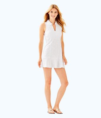 UPF 50+ Luxletic Martina Tennis Dress, Resort White Perfect Match Jacquard, large 3