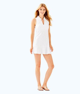 UPF 50+ Luxletic Martina Tennis Dress, Resort White Perfect Match Jacquard, large 4