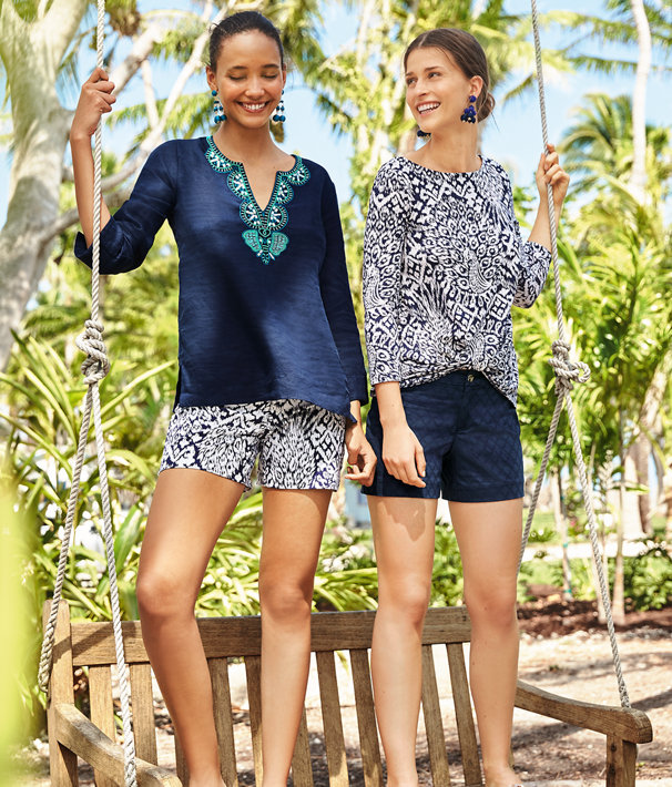 """5"""" Kelly Stretch Short, Bright Navy Pineapple Party, large"""