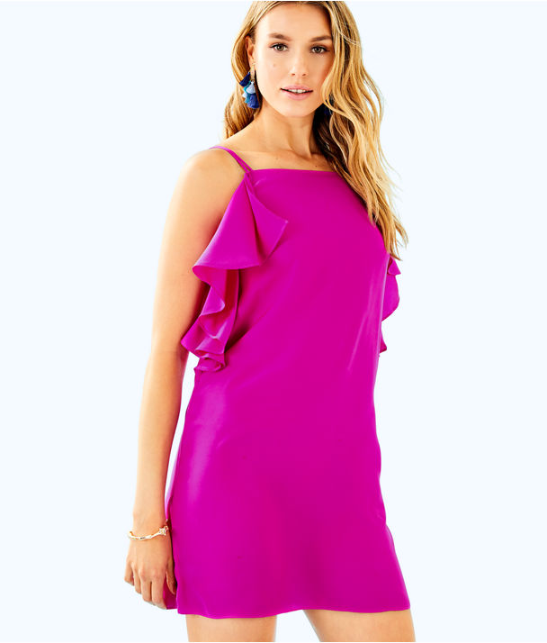 Kara Silk Dress, Blackberry, large