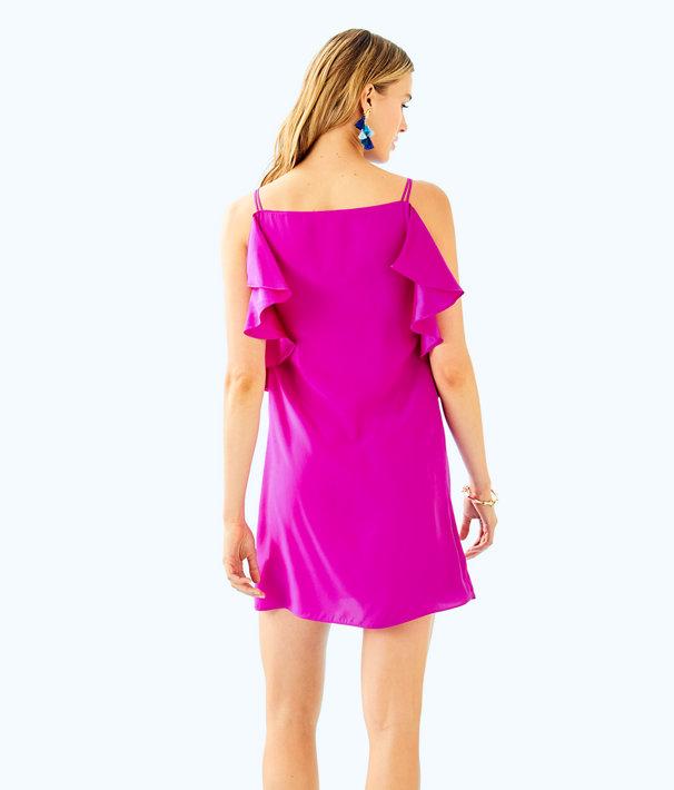 Kara Silk Dress, Blackberry, large