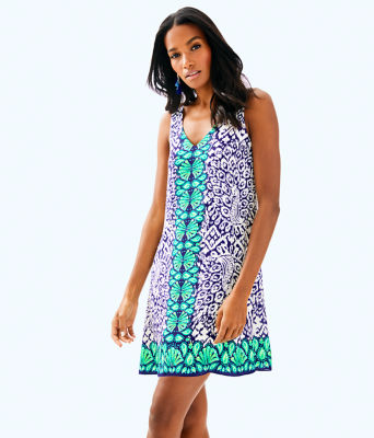 Florin Sleeveless V-Neck Dress, Bright Navy Pineapple Party Eng Florin Dress Front, large