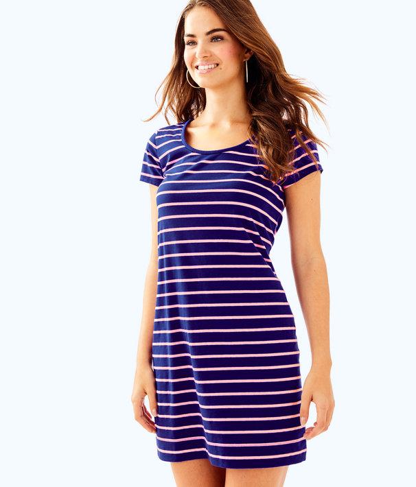 Short Sleeve Beacon Dress, Twilight Blue Coastal Shell Stripe, large