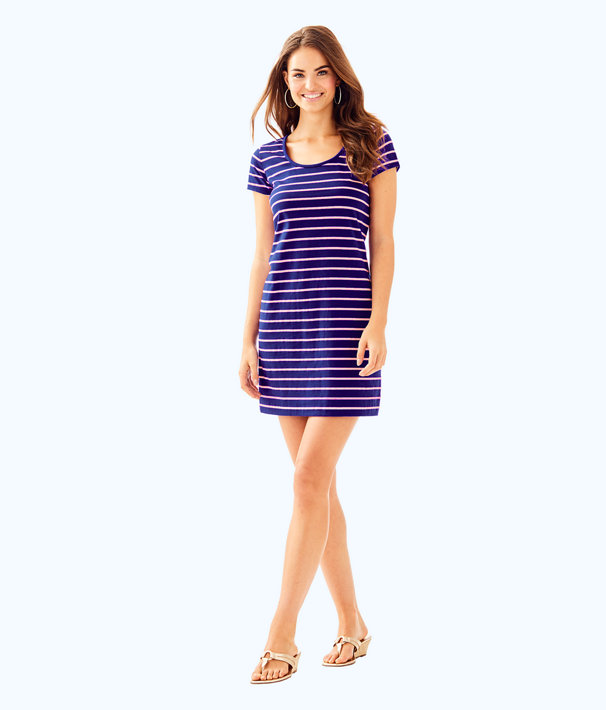 Short Sleeve Beacon Dress, Twilight Blue Coastal Shell Stripe, large