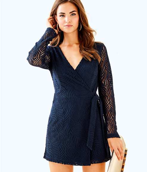 Tiki Wrap Romper, True Navy Feather Bloom Lace, large