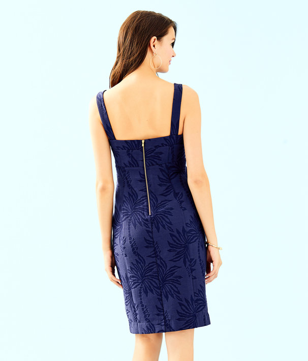 Annalee Stretch Dress, True Navy Palm Paradise Puckered Jacquard, large