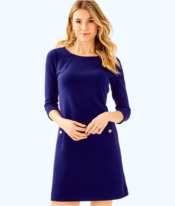 Charlene Shift Dress, True Navy, large