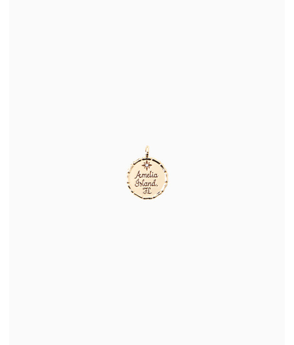 Location Charm, Gold Metallic Amelia Island Charm, large