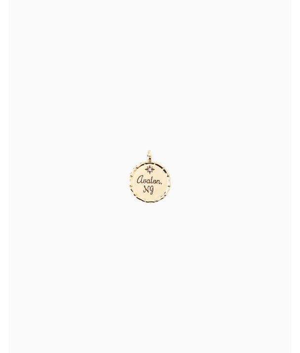 Location Charm, Gold Metallic Avalon Charm, large