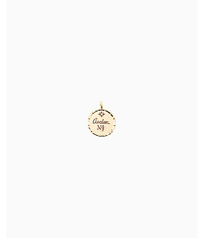 Location Charm, Gold Metallic Avalon Charm, large