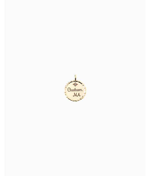 Location Charm, Gold Metallic Chatham Ma Charm, large
