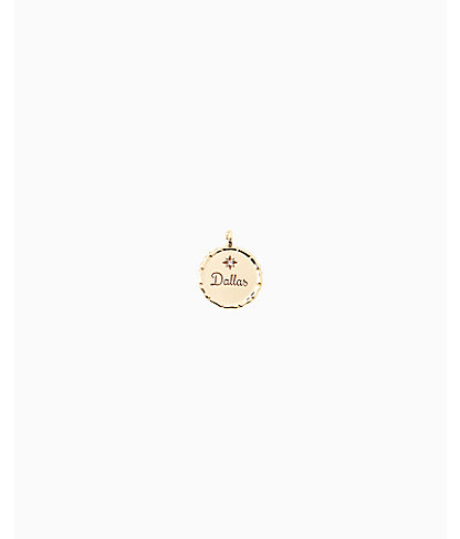 Location Charm, Gold Metallic Dallas Charm, large