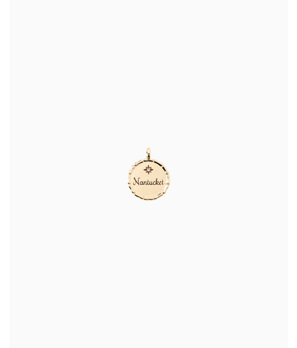 Location Charm, Gold Metallic Nantucket Charm, large