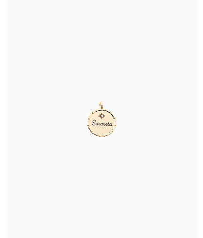 Location Charm, Gold Metallic Sarasota Charm, large