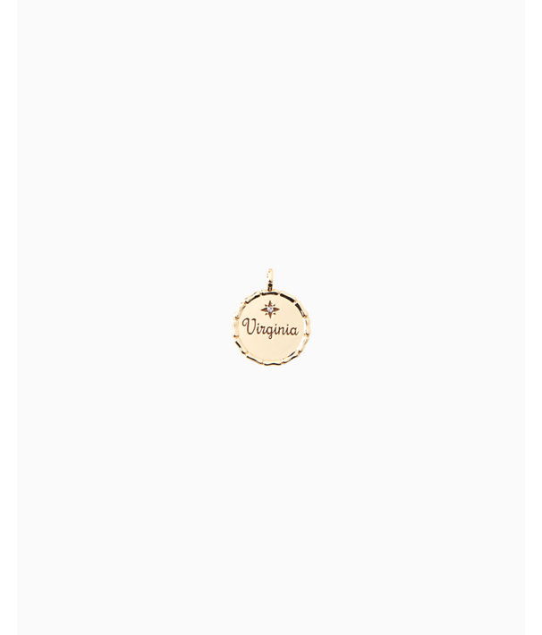 Location Charm, Gold Metallic Virginia Charm, large