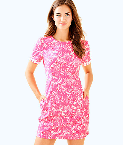 goop x Lilly Pulitzer Gwyneth Stretch Shift Dress, Hotty Pink Kiss Kiss For Goop X Lilly Pulitzer Sm, large