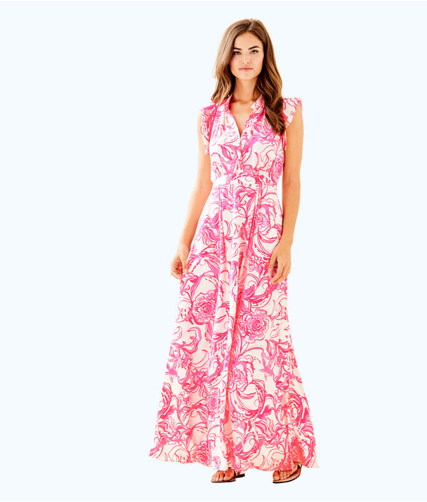 goop x Lilly Pulitzer Palm Beach Silk Maxi Dress, Cameo White Kiss Kiss For Goop X Lilly Pulitzer, large