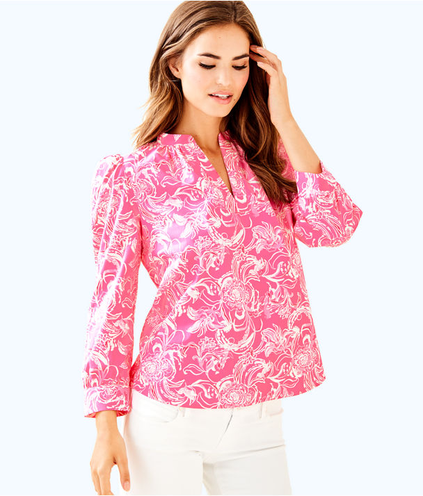 goop x Lilly Pulitzer Paltrow Blouse, Hotty Pink Kiss Kiss For Goop X Lilly Pulitzer Sm, large