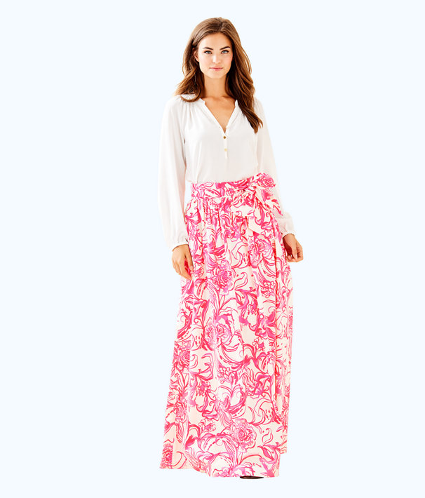 goop x Lilly Pulitzer Lilly Maxi Skirt, Cameo White Kiss Kiss For Goop X Lilly Pulitzer, large