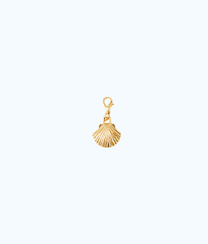 Removable Scallop Shell Zipper Pull, Gold Metallic, large
