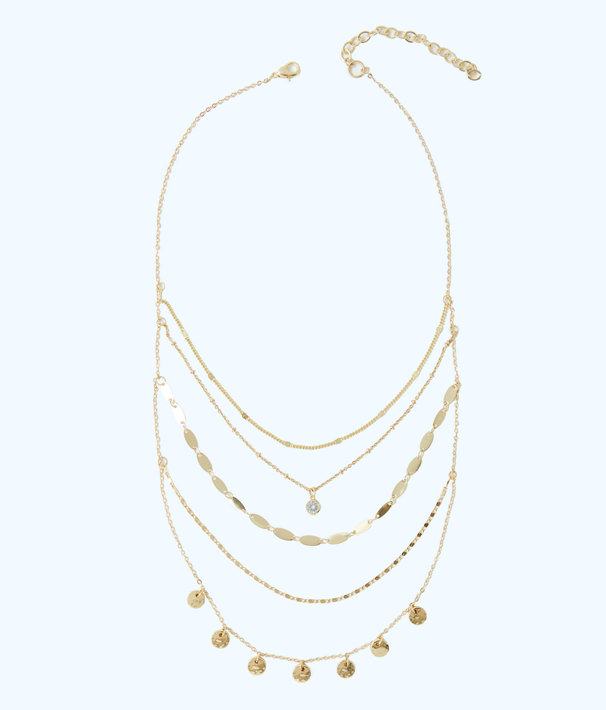 Sunkissed Delicate Layers Necklace, Gold Metallic, large