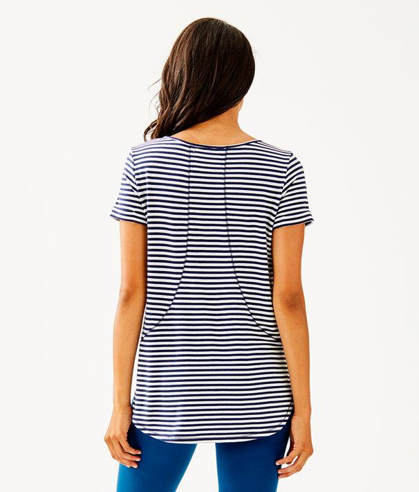 Kerah Lounge Tee Shirt, Bright Navy Positano Yarn Dyed Stripe, large
