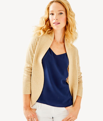 Amalie Cardigan, Heathered Camel Metallic, large