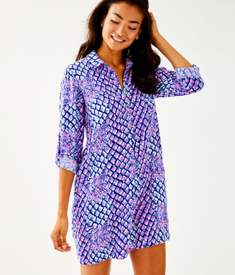 Lillith Tunic Dress, Royal Purple Pop Up Toe In Eng Tunic Dress, large