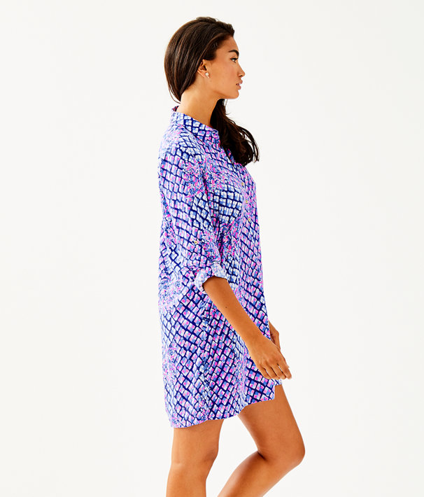 Lillith Tunic Dress, Royal Purple Pop Up Toe In Eng Tunic Dress, large