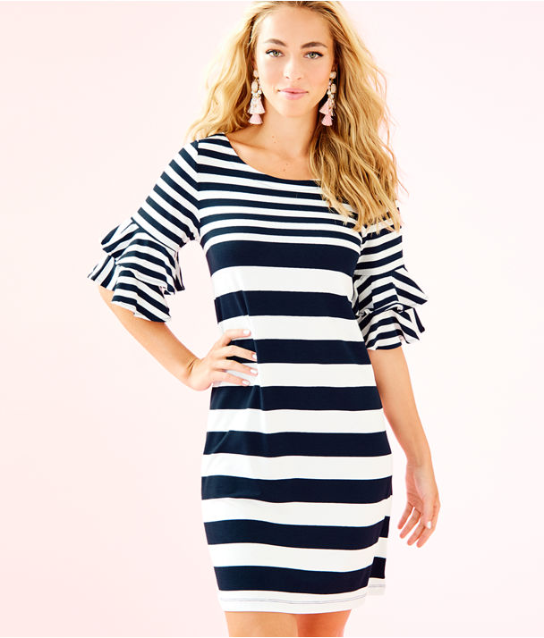 Lula Dress, True Navy Pop Up Safari Stripe Eng Dress, large